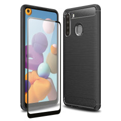 Flexible rugged casing with a premium matte finish non-slip carbon fibre and brushed metal design, the Olixar Sentinel case in black keeps your Samsung Galaxy A21 protected from 360 degrees with the added bonus of a tempered glass screen protector.