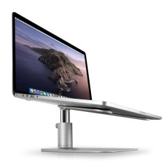 HiRise for MacBook is a beautifully designed, height-adjustable stand that elevates your laptop to a comfortable desktop. HiRise does what fixed stands can't do, letting you set your screen height from a few inches up to a half foot off your desk.