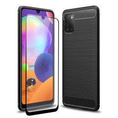Flexible rugged casing with a premium matte finish non-slip carbon fibre and brushed metal design, the Olixar Sentinel case in black keeps your Samsung Galaxy A31 protected from 360 degrees with the added bonus of a tempered glass screen protector.