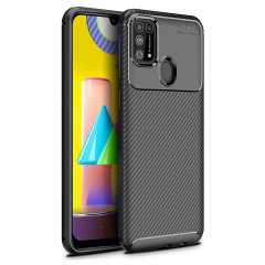 Flexible rugged casing with a premium matte finish non-slip carbon fibre and brushed metal design, the Olixar case in black keeps your Samsung Galaxy M31 protected.