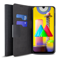 Protect your Samsung Galaxy M31 with this durable and stylish black leather-style wallet case by Olixar. What's more, this case transforms into a handy stand to view media.