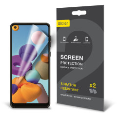 Keep your Samsung Galaxy A21s screen in pristine condition with this Olixar scratch-resistant screen protector 2-in-1 pack.
