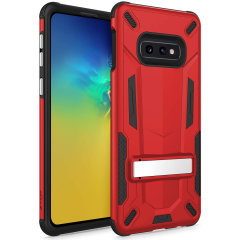 Protect your Samsung Galaxy S10e from bumps and scrapes with this Red/Black Zizo Transform case. Comprised of an outer impact-resistant shell, the Zizo Hybrid Transformer Case offers a sturdy and robust protection for your phone.