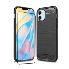 Flexible rugged casing with a premium matte finish non-slip carbon fibre and brushed metal design, the Olixar Sentinel case in black keeps your iPhone 12 protected from 360 degrees with the added bonus of a tempered glass screen protector