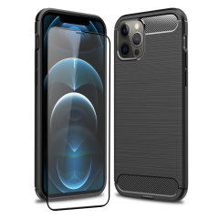 Flexible rugged casing with a premium matte finish non-slip carbon fibre and brushed metal design, the Olixar Sentinel case in black keeps your iPhone 12 Pro Max protected from 360 degrees with the added bonus of a tempered glass screen protector.