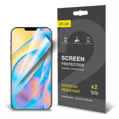 Keep your iPhone 12 mini screen in pristine condition with this Olixar scratch-resistant film screen protector 2-in-1 pack.