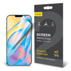 Keep your iPhone 12 Max screen in pristine condition with this Olixar scratch-resistant film screen protector 2-in-1 pack.