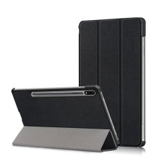 Protect your Samsung Galaxy Tab S7 with this durable and stylish black leather-style wallet case by Olixar. What's more, this case transforms into a handy stand to view media and comes with an S-pen holder.