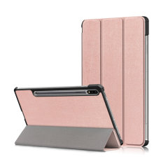 Protect your Samsung Galaxy Tab S7 with this durable and stylish rose gold leather-style wallet case by Olixar. What's more, this case transforms into a handy stand to view media and comes with an S-pen holder.