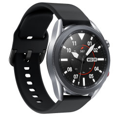Treat your brand new Samsung Galaxy Watch 3 to the ultra-high quality soft silicone strap from Olixar in black. Comfortable, durable and stylish, this 45mm strap is the perfect way to personalise your Samsung Galaxy Watch 3.