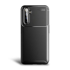 Flexible rugged casing with a premium matte finish non-slip carbon fibre and brushed metal design, the Olixar case in black keeps your OnePlus Nord protected.