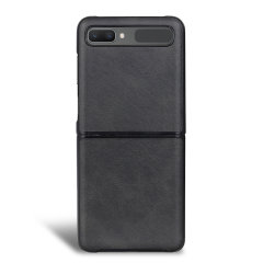 Protect your Samsung Galaxy Z-Flip 5G with this durable and stylish black leather-style wallet case by Olixar. What's more, this case transforms into a handy stand to view media.