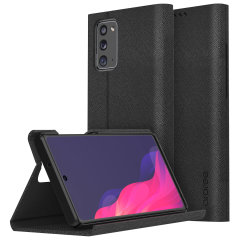 Protect your Samsung Galaxy Note 20 5G with the Araree Bonnet Stand Case in Black. With premium Saffiano leather, magnetic closure and completely shock proof, this case provides all round 360° protection in style with added convenience of a viewing stand.
