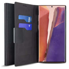 Protect your Samsung Galaxy Note 20 5G with this durable and stylish black leather-style wallet case by Olixar. What's more, this case transforms into a handy stand to view media.