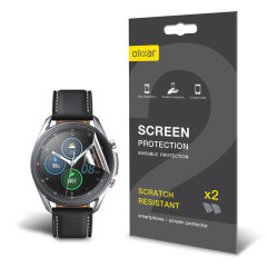 Keep your Samsung Galaxy Watch 3 45mm Frontier or Classic smartwatch screen in pristine condition with this Olixar scratch-resistant TPU screen protector 2-in-1 pack.