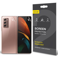 Keep your Samsung Galaxy Z Fold 2 5G in pristine condition all over with this Olixar scratch-resistant full cover film screen protector 2-in-1 pack. Features 2 interlocking screen protectors that fully cover the back and front of your phone.