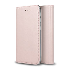 Leather-Style Samsung Galaxy A21s Wallet Stand Case - Rose Gold