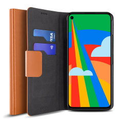 Protect your Google Pixel 5 with this durable and stylish brown leather-style wallet case by Olixar. What's more, this case transforms into a handy stand to view media.