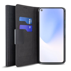 Protect your Google Pixel 4a 5G with this durable and stylish black leather-style wallet case by Olixar. What's more, this case transforms into a handy stand to view media.