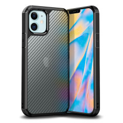Custom moulded for the iPhone 12 Max. This black Olixar ExoShield carbon tough case provides a slim fitting stylish design and reinforced corner shock protection against damage, keeping your device looking great at all times.