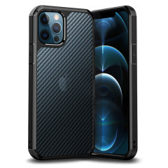 Custom moulded for iPhone 12 Pro Max. The ExoShield Carbon bumper case provides a slim fitting stylish design, with reinforced shock protection against damage. With a semi- transparent back to showcase your device through a premium carbon fibre overlay.