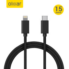 Olixar 18W Braided Lightning To USB-C Charging Cable - 1.5m Black