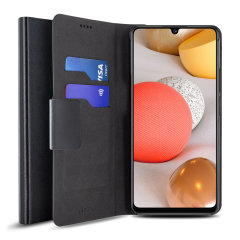 Olixar Samsung Galaxy A42 5G Leather-Style Wallet Stand Case - Black