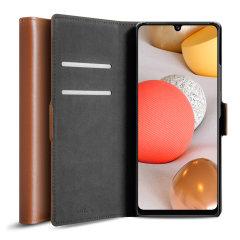 Olixar Samsung Galaxy A42 5G Genuine Leather Wallet Stand Case - Brown