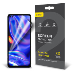 Keep your Motorola One 5G screen in pristine condition with this Olixar scratch-resistant film screen protector 2-in-1 pack.