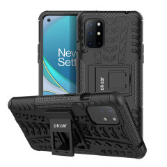 Protect your Oneplus 8T from bumps and scrapes with this black ArmourDillo case from Olixar. Comprised of an inner TPU case and an outer impact-resistant exoskeleton, with a built-in viewing stand.