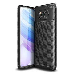 Flexible rugged casing with a premium matte finish non-slip carbon fibre and brushed metal design, the Olixar case in black keeps your XiaoMi Poco X3 NFC protected.
