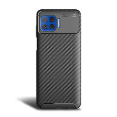 Flexible rugged casing with a premium matte finish non-slip carbon fibre and brushed metal design, the Olixar case in black keeps your Motorola One 5G protected.
