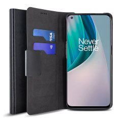 Protect your OnePlus N10 5G with this durable and stylish black leather-style wallet case by Olixar. What's more, this case transforms into a handy stand to view media.