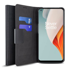 Protect your OnePlus N100 with this durable and stylish black leather-style wallet case by Olixar. What's more, this case transforms into a handy stand to view media.