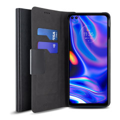 Protect your Motorola One 5G with this durable and stylish black leather-style wallet case by Olixar. What's more, this case transforms into a handy stand to view media.