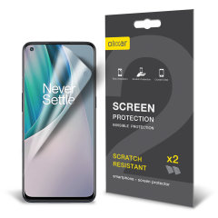Keep your Oneplus Nord N10 5G screen in pristine condition with this Olixar scratch-resistant film screen protector 2-in-1 pack.