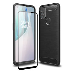 Flexible rugged casing with a premium matte finish non-slip carbon fibre and brushed metal design, the Olixar Sentinel case in black keeps your OnePlus N10 5G protected from 360 degrees with the added bonus of a tempered glass screen protector.