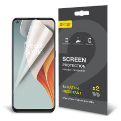 Keep your Oneplus Nord N100 screen in pristine condition with this Olixar scratch-resistant film screen protector 2-in-1 pack.
