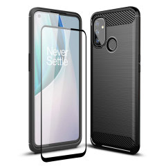 Flexible rugged casing with a premium matte finish non-slip carbon fibre and brushed metal design, the Olixar Sentinel case in black keeps your OnePlus Nord N100 protected from 360 degrees with the added bonus of a tempered glass screen protector.