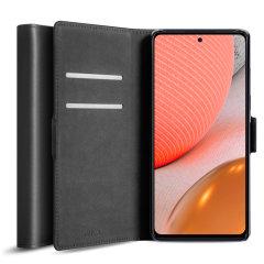 Olixar Genuine Leather Samsung Galaxy A72 Wallet Case - Black