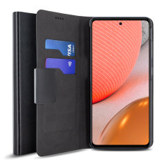 Protect your Samsung Galaxy A72 with this durable and stylish black leather-style wallet case by Olixar. What's more, this case transforms into a handy stand to view media.