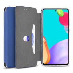 Custom moulded for the Samsung Galaxy A52 5G  this blue soft silicone flip case from Olixar provides excellent protection against damage as well as a slimline fit. Additionally, this case transforms into a stand to view media and includes a card slot.