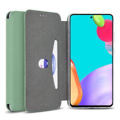 Olixar Soft Silicone Samsung Galaxy A52 Wallet Case - Pastel Green