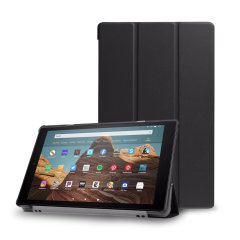 Olixar Leather-style Amazon Fire HD 8 Plus 2020 Folio Stand Case Black