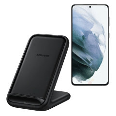Wirelessly charge your Samsung Galaxy S21 Plus smartphone with Wireless Fast Charge technology using this official Samsung Qi Wireless Charging Pad in black.