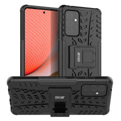 Protect your Samsung Galaxy A72 from bumps and scrapes with this black, tough ArmourDillo case from Olixar. Comprised of an inner TPU case and an outer impact-resistant exoskeleton, with a built-in viewing stand to make watching your favourite shows easy!