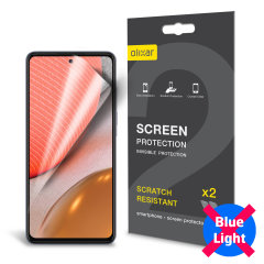Keep your Samsung Galaxy A72 screen in pristine condition with this Olixar scratch-resistant screen protector 2-in-1 pack. The anti-blue light technology filters the harmful blue light and helps protect your vision and improve your sleep quality.