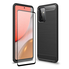 Flexible rugged casing with a premium matte finish non-slip carbon fibre and brushed metal design, the Olixar Sentinel case in black keeps your Samsung Galaxy A72 protected from 360 degrees with the added bonus of a tempered glass screen protector.