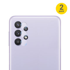 This 2 pack of ultra-thin rear camera protectors for the Samsung Galaxy A32 5G from Olixar offers toughness, lens protection and superb clarity for your photography all in one package. Feel secure with Olixar.