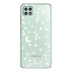 LoveCases Samsung Galaxy A22 5G - White Stars & Moon Case
